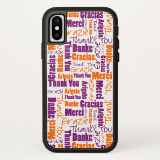 Purple and Orange Thank You Word Cloud iPhone X Case