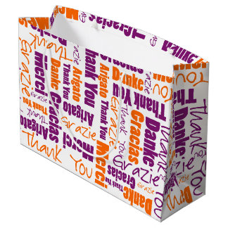Purple and Orange Thank You Word Cloud Large Gift Bag