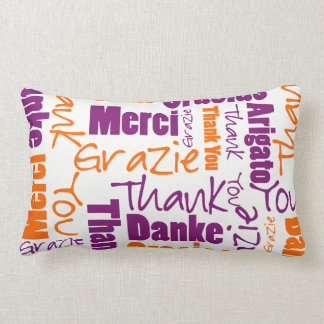 Purple and Orange Thank You Word Cloud Lumbar Pillow