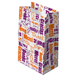 Purple and Orange Thank You Word Cloud Small Gift Bag