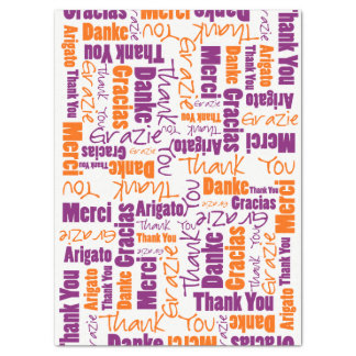 Purple and Orange THANK YOU Word Collage Tissue Paper
