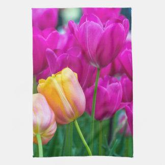 Purple and orange tulips kitchen towel
