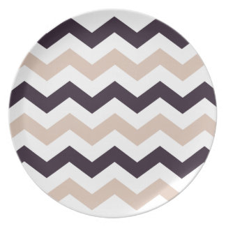 Purple and Peach Zigzags Dinner Plate