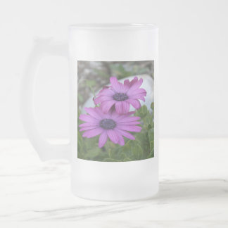 Purple and Pink African Daisy Flowers Frosted Glass Beer Mug