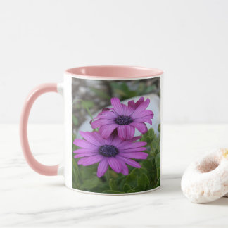 Purple and Pink African Daisy Flowers Mug