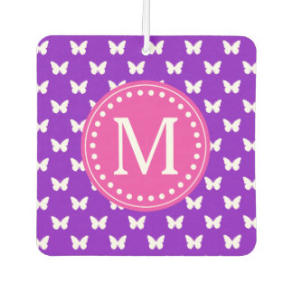 Purple and Pink Butterfly Monogram Car Air Freshener