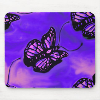 Purple and pink butterfly mouse pad