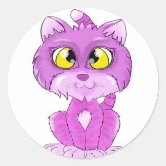 Purple and pink Cheshire Cat Kitten Classic Round Sticker