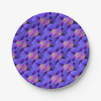 Purple and Pink Colored Morning Glory Flowers Clos 7 Inch Paper Plate