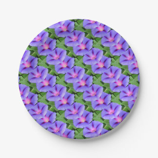 Purple and Pink Colored Morning Glory Flowers Paper Plate