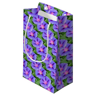 Purple and Pink Colored Morning Glory Flowers Small Gift Bag