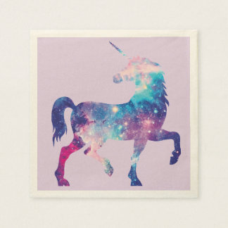 Purple and Pink Cosmic Unicorn Napkin Disposable Napkins