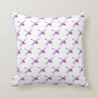 Purple and Pink Dragonfly Throw Pillow