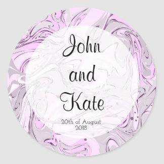 Purple and pink faux marble texture wedding design round sticker