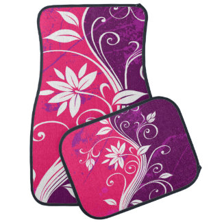 Purple and Pink Floral Grunge Car Liners