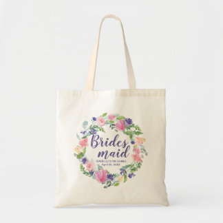 Purple and Pink Floral Personalized Bridesmaid Tote Bag