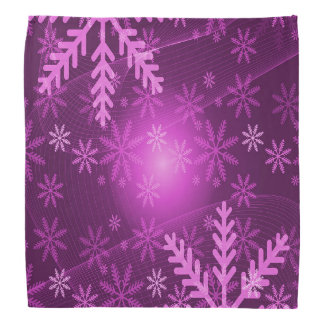 Purple and pink girly winter with snowflakes bandana