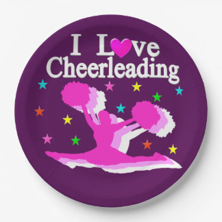 PURPLE AND PINK I LOVE CHEERLEADING PAPER PLATES