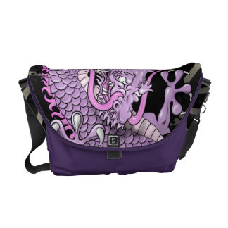 Purple and Pink Japanese Dragon Tattoo Wind Bars Courier Bags