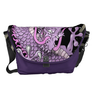 Purple and Pink Japanese Dragon Tattoo Wind Bars Messenger Bag