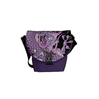 Purple and Pink Japanese Dragon Tattoo Wind Bars Messenger Bags