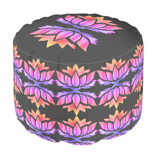 Purple and Pink Lotus Flower design Pouf