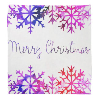 Purple and Pink Merry Chistmas Snowflakes Bandana