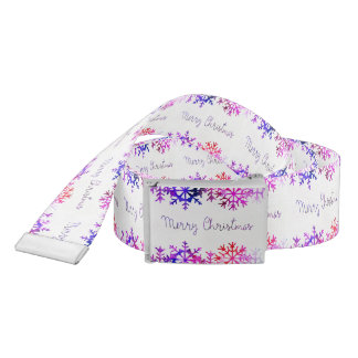 Purple and Pink Merry Chistmas Snowflakes Belt