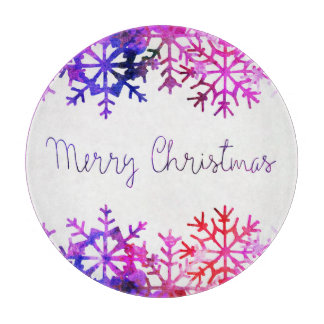 Purple and Pink Merry Chistmas Snowflakes Boards