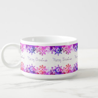 Purple and Pink Merry Chistmas Snowflakes Bowl