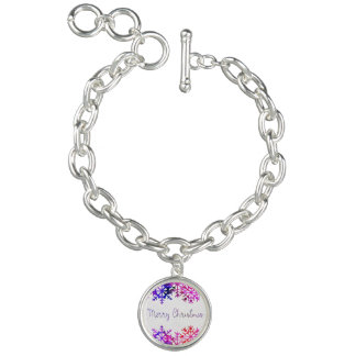 Purple and Pink Merry Chistmas Snowflakes Bracelet