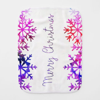 Purple and Pink Merry Chistmas Snowflakes Burp Cloth