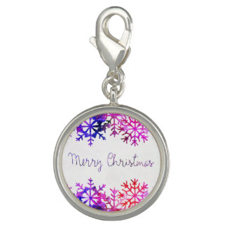 Purple and Pink Merry Chistmas Snowflakes Charm