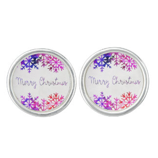 Purple and Pink Merry Chistmas Snowflakes Cuff Links