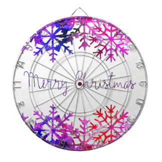 Purple and Pink Merry Chistmas Snowflakes Dartboard