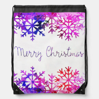 Purple and Pink Merry Chistmas Snowflakes Drawstring Bag