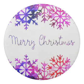 Purple and Pink Merry Chistmas Snowflakes Eraser