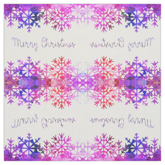 Purple and Pink Merry Chistmas Snowflakes Fabric