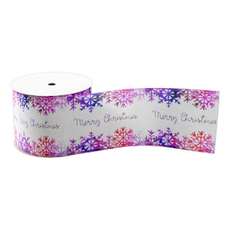Purple and Pink Merry Chistmas Snowflakes Grosgrain Ribbon