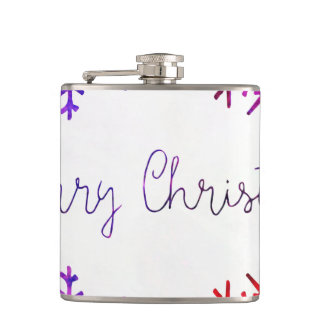 Purple and Pink Merry Chistmas Snowflakes Hip Flask