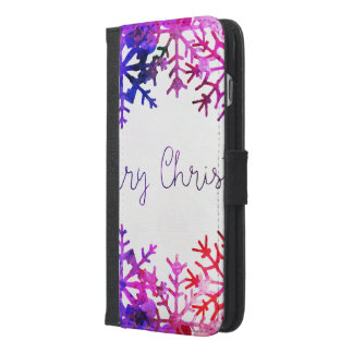 Purple and Pink Merry Chistmas Snowflakes iPhone 6/6s Plus Wallet Case