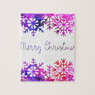 Purple and Pink Merry Chistmas Snowflakes Jigsaw Puzzle