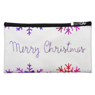 Purple and Pink Merry Chistmas Snowflakes Makeup Bag