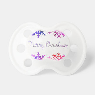 Purple and Pink Merry Chistmas Snowflakes Pacifier