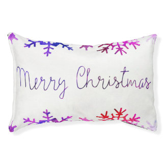 Purple and Pink Merry Chistmas Snowflakes Pet Bed