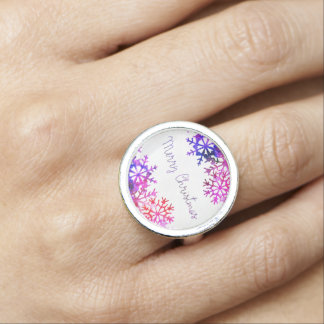 Purple and Pink Merry Chistmas Snowflakes Photo Rings