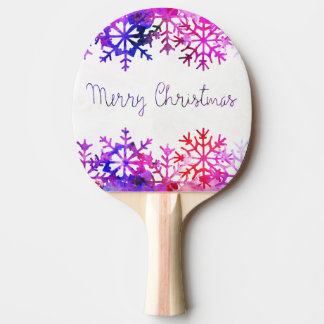 Purple and Pink Merry Chistmas Snowflakes Ping Pong Paddle