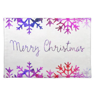 Purple and Pink Merry Chistmas Snowflakes Placemat