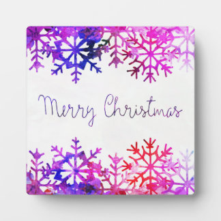 Purple and Pink Merry Chistmas Snowflakes Plaque