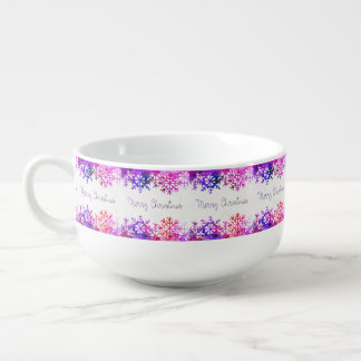 Purple and Pink Merry Chistmas Snowflakes Soup Mug